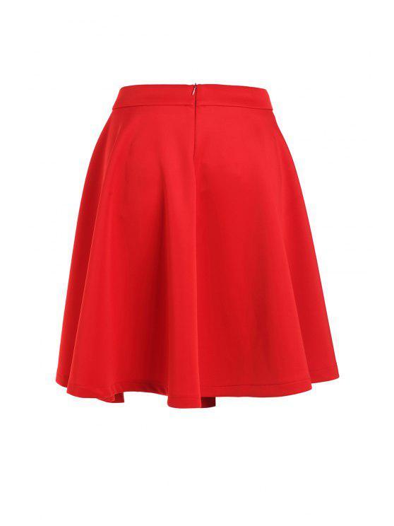 High-Waisted Ruffled Red Midi Skirt - Rojo M