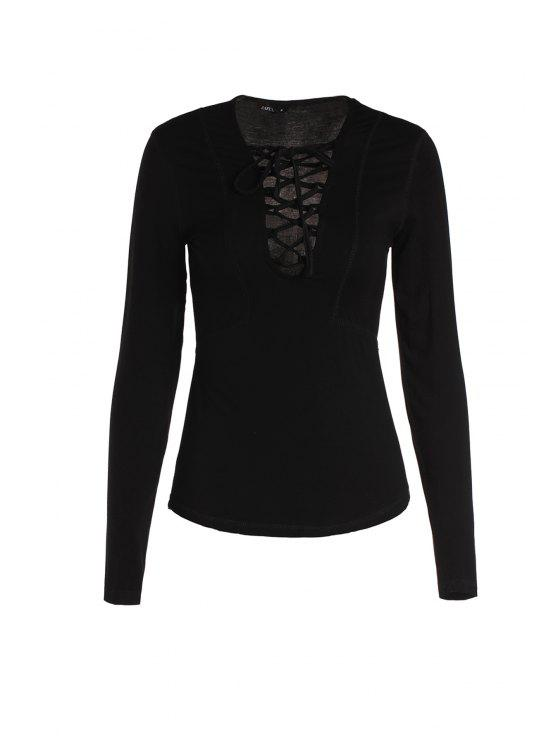 women Pure Color Lucky Lace Up Top - BLACK L