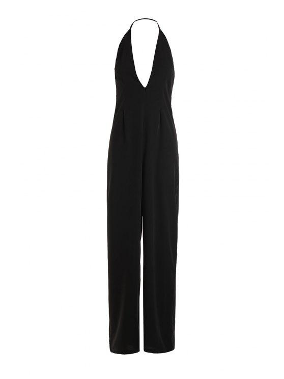 outfits Black Halter Backless Wide Leg Jumpsuit - BLACK XS