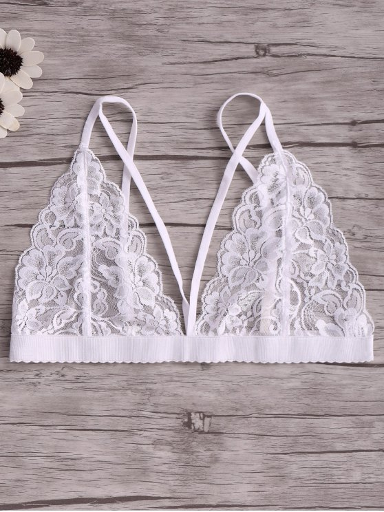 fashion Solid Color Lace Spaghetti Straps Spliced Bra - WHITE L