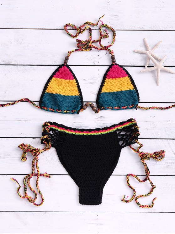 fancy Hit Color Cut Out Halter Crochet Bikini Set - YELLOW ONE SIZE(FIT SIZE XS TO M)