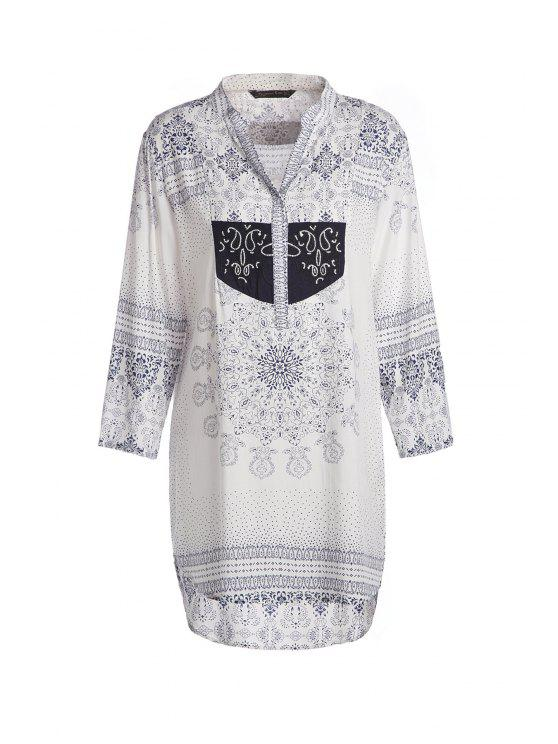 ladies V Neck Floral Print High Low 3/4 Sleeve Dress - WHITE S