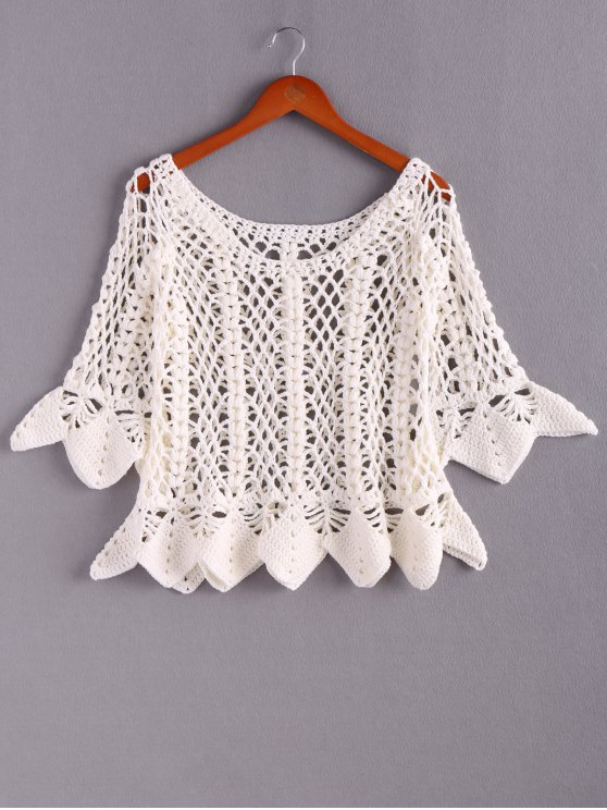 shops Solid Color Cut Out Round Neck Butterfly Sleeves Sweater - WHITE ONE SIZE(FIT SIZE XS TO M)