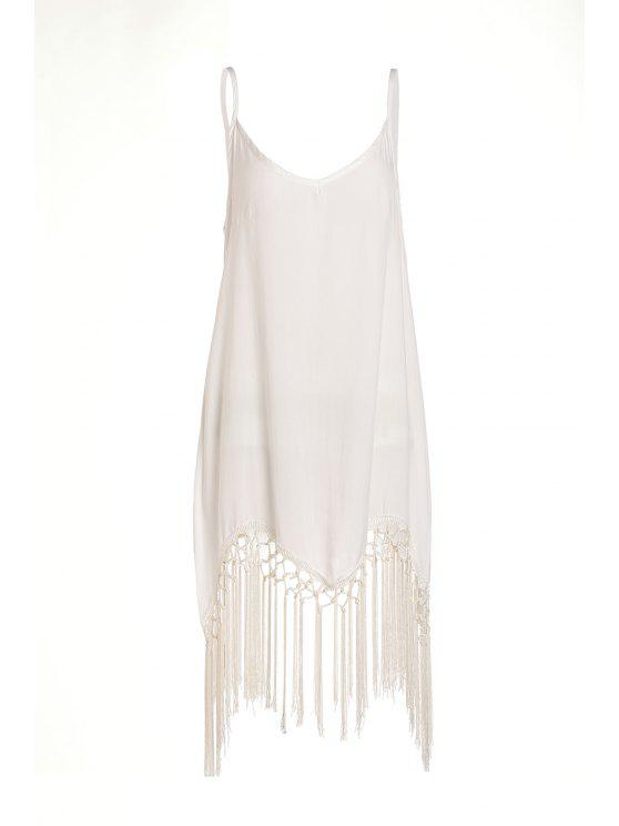outfit Spaghetti Strap Tassel Splicing Solid Color Dress - OFF-WHITE S