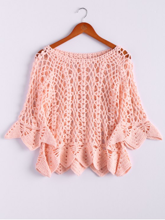 hot Solid Color Cut Out Round Neck Butterfly Sleeve Sweater - PINK ONE SIZE(FIT SIZE XS TO M)