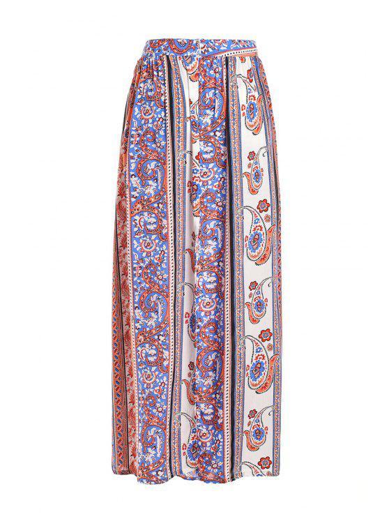 fashion Vintage Print High Waisted Maxi Skirt - JACINTH XL