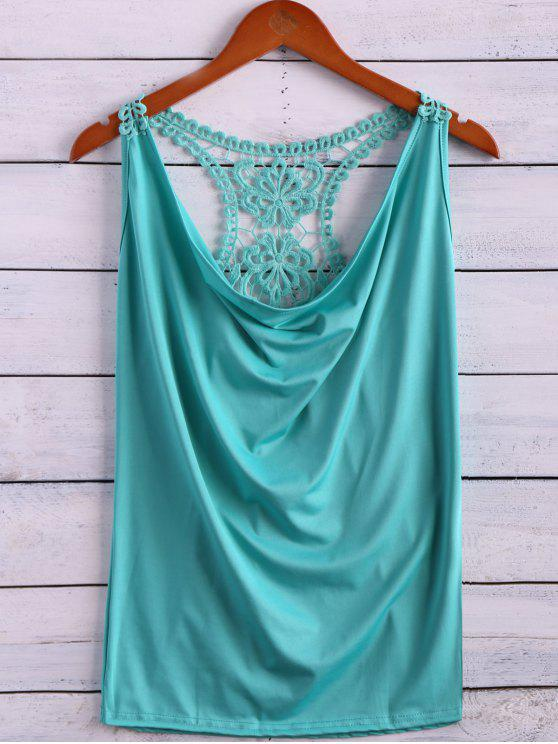 affordable Lace Spliced Cowl Collar Tank Top - LIGHT GREEN M