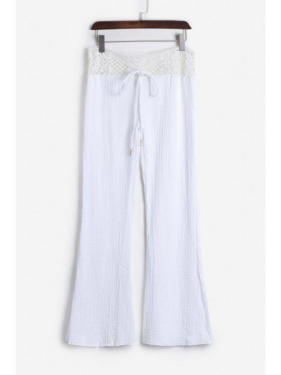 lady Lace Waist White Flare Pants - WHITE L