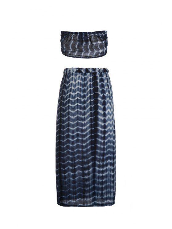 unique Halter Self-Tie Crop Top and High Slit Tie-Dyed Skirt Suit - BLUE S