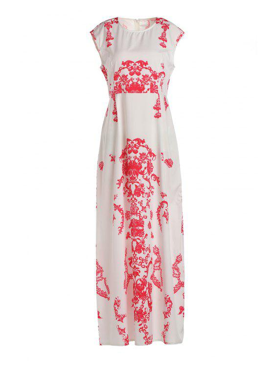 new Floral Print Floor-Length White Dress - WHITE S