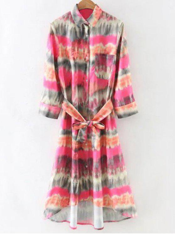 chic Tie-Dyed Shirt Dress - COLORMIX M