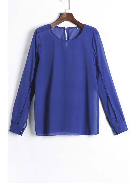 lady Jewel Neck Solid Color Slit Long Sleeve Shirt - DEEP BLUE S