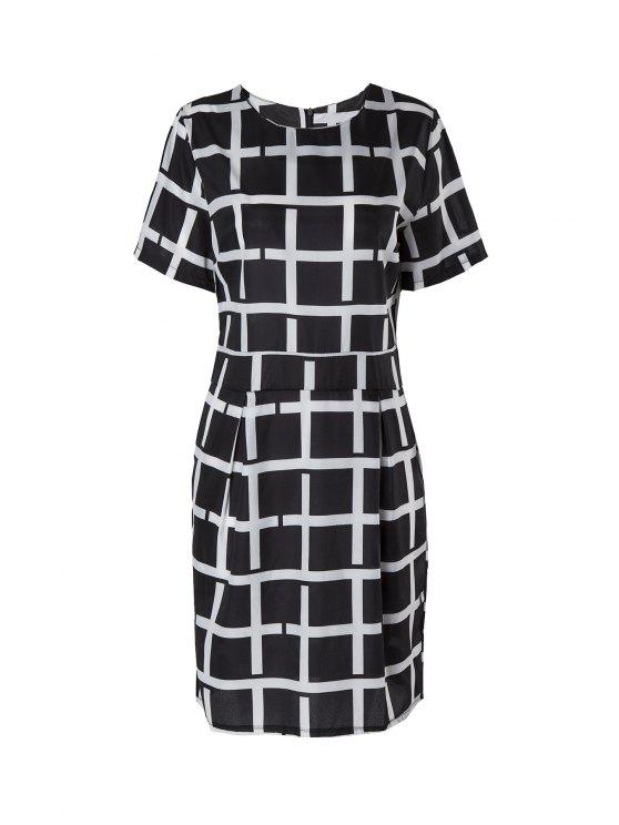 shops Plaid Short Sleeve Dress - BLACK 2XL