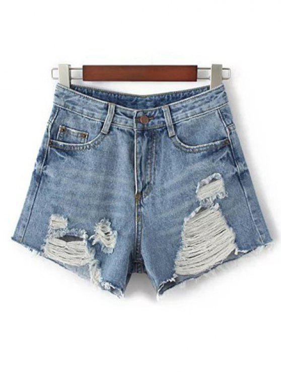 chic Broken Hole High Waisted Denim Shorts - BLUE L