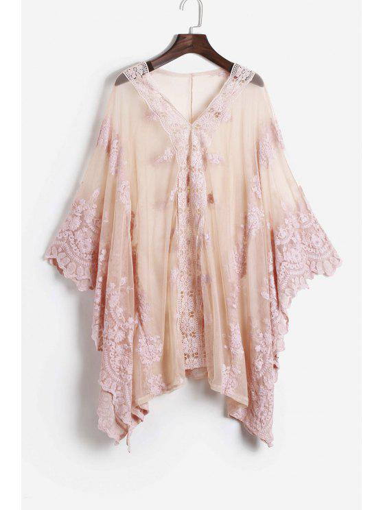 womens Lace See-Through Bat-Wing Sleeve Blouse - PINK S