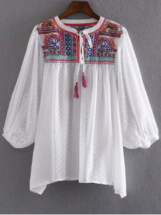 f6203b46 57% OFF] 2019 Embroidered Plumetis Top In WHITE   ZAFUL New Zealand