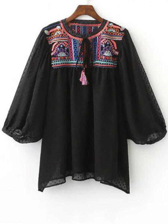sale Embroidered Plumetis Top - BLACK M