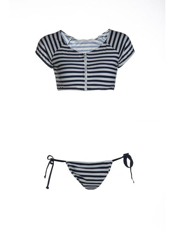 Striped Scoop Neck Kurzarm Bikini Set - Blau & Weiß L