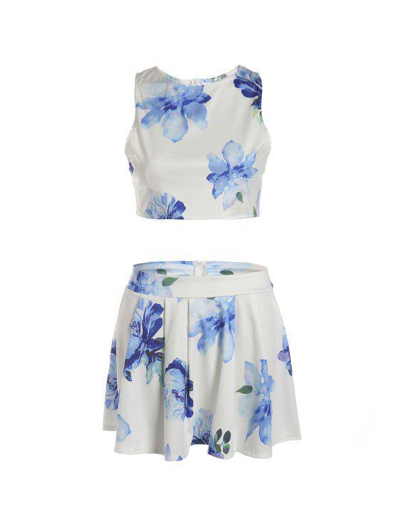 fashion Floral Sleeveless Crop Top and A Line Skirt Suit - WHITE S