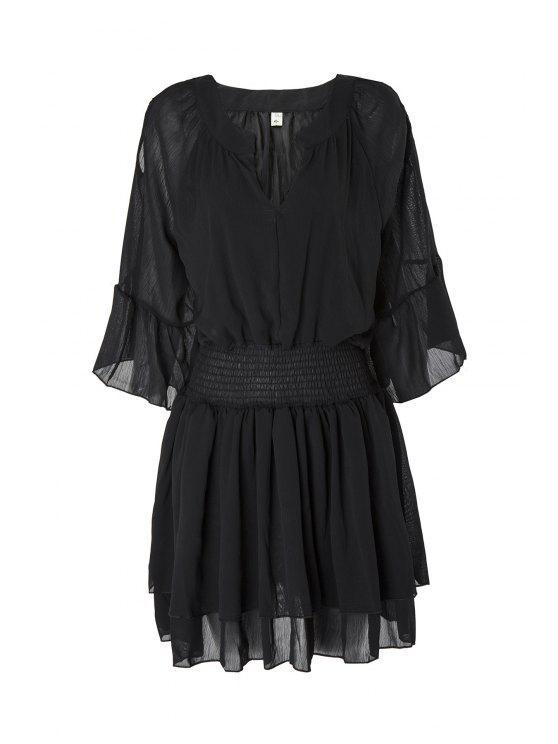 fashion Flare Sleeve Layered Plus Size Chiffon Dress - BLACK 4XL