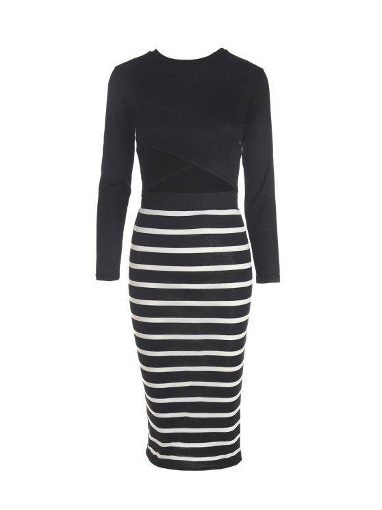 Solid Color Long Sleeve Crop Top + Stripe Skirt - Negro L