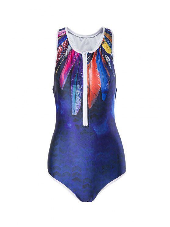 Pluma de impresión cuello redondo de una pieza de baño - Azul Purpúreo S