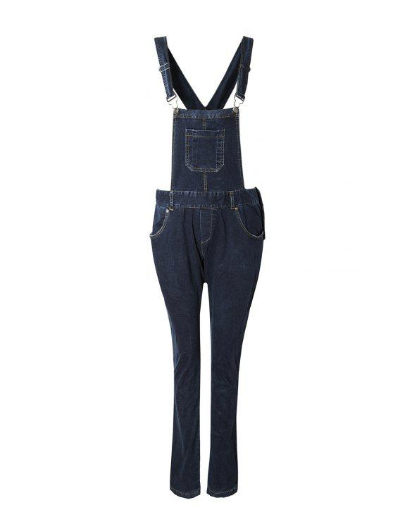 fashion Blue Black Denim Dungarees - DEEP BLUE L