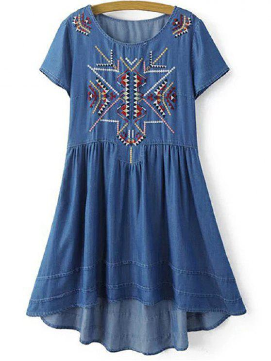 women's Ethnic Embroidery Round Neck Short Sleeve Dress - BLUE S