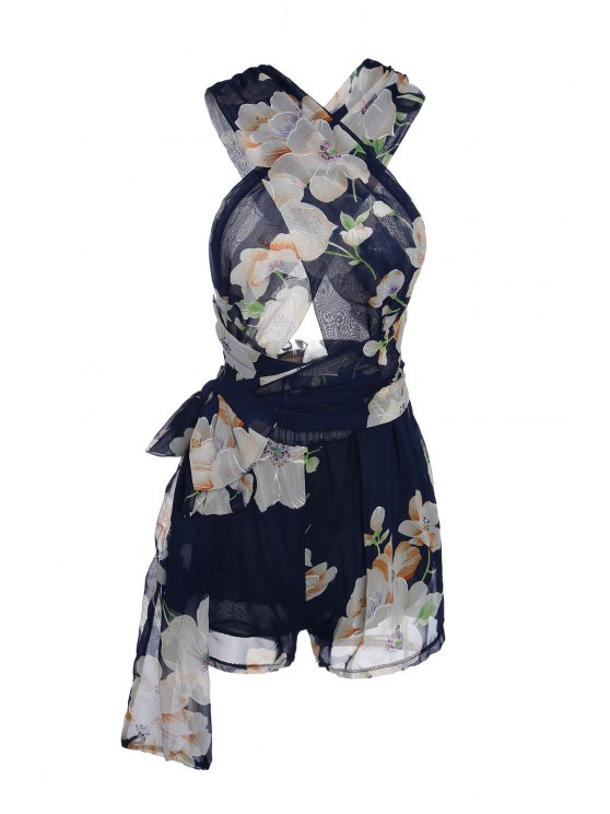 womens Plunging Neck Floral Print Self-Tie Romper - PURPLISH BLUE L