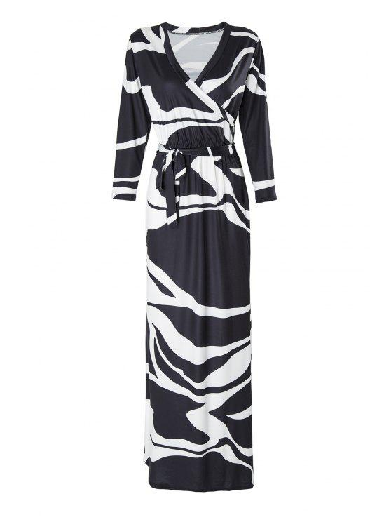 ladies Black and White 3/4 Sleeve Maxi Dress - WHITE AND BLACK S