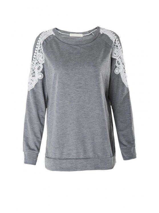 ladies Lace Spliced Hollow Long Sleeves T-Shirt - GRAY XL