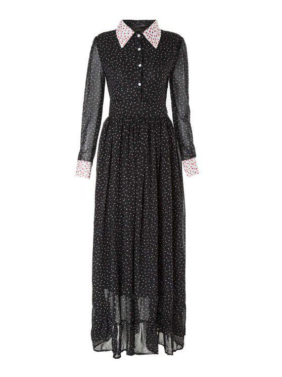 chic Long Sleeve Tiny Floral Print Maxi Dress - DEEP BLUE M