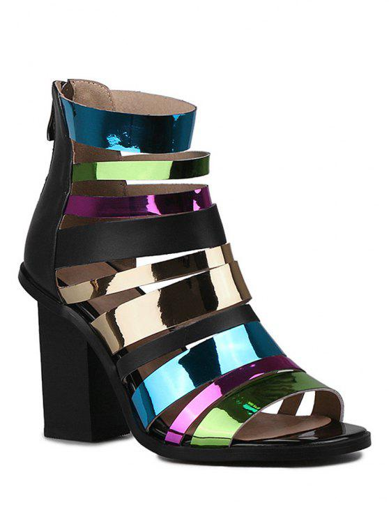 Zip correas de las sandalias coloridas tacón grueso - Negro 37