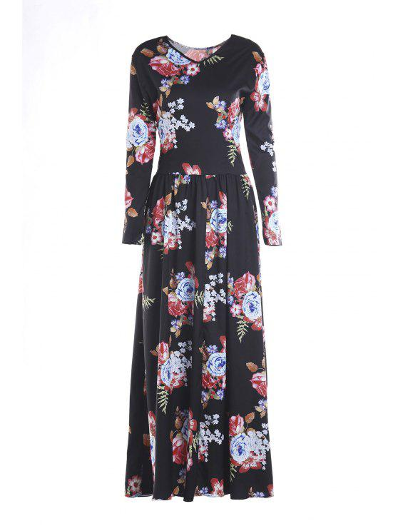 new Colorful Floral Print Long Sleeve Dress - BLACK S