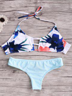 Print Cut Out Halter Bikini Set - Blue S