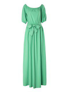 Slash Neck Green Half Sleeve Dress - Light Green M