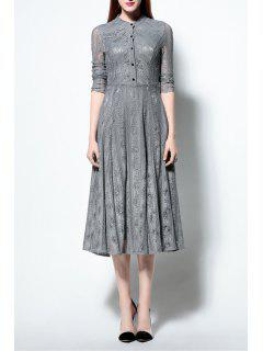 Solid Color Ruched Lace Dress - Gray S