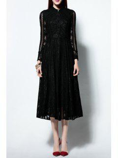 Solid Color Ruched Lace Dress - Black S
