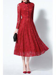 Solid Color Ruched Lace Dress - Red S