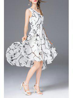 High Low A Line Chiffon Print Dress - White Xl