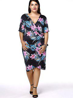 Plus Size Hawaiian Floral Short Sleeve Wrap Dress - Black 2xl