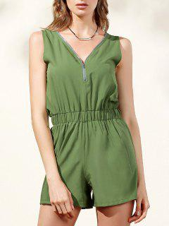 Sleeveless Zip Up Romper - Army Green L