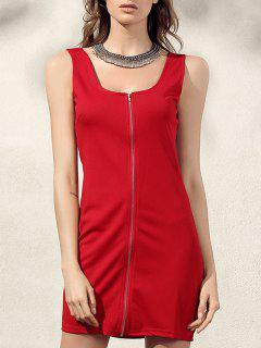 Robe Droite Zippée - Rouge S