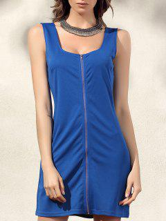 Bodycon Zip Dress - Blue L