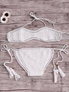 White String Cut Out Halter Crochet Bikini Set - White
