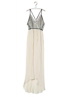 Chiffon Flowing Embroidered Pleated Dress - Off-white Xl