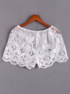 Lace Beach Mini Shorts - White S