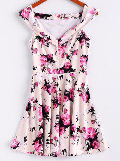 Floral Print Sleeveless Waisted A Line Dress - Off-white L
