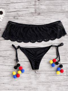 Off-The-Shoulder Lace Bikini Set - Black S