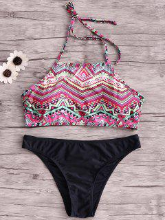 Wire Free Printing Halter Bikini Set - Black Xl
